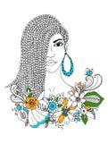 Vector Illustration zentangl Porträt Afroamerikanerfrau, Mulatten, Schwarze Gekritzelblumenrahmen, Borten, färbend Stockfotografie