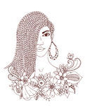 Vector Illustration zentangl Porträt der Afroamerikanerfrau, Mulatte, Schwarze Gekritzelblumenrahmen, Borten, färbend Lizenzfreie Stockfotos