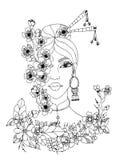 Vector Illustration zentangl Porträt von japanischen Frauen, Gekritzelblumen, Kirschblüte, Rahmen, Frühling, Blüte Bunte grafisch Lizenzfreies Stockfoto