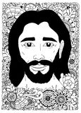 Vector illustration zentangl, Portrait of Jesus in the flowers. Doodle drawing. Meditative exercise. Coloring book anti Stock Photos