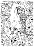 Vector illustration zentangl pregnant woman in a flower frame, doodle, zenart flowers. Adult coloring books. Black and Royalty Free Stock Image