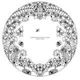 Vector Illustration zentangl runden Blumenrahmen, Symmetrie Kritzeln Sie Blumen, Biene, Schmetterling zenart und dudling Farbton  Lizenzfreie Stockfotografie