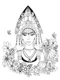Vector illustration zentangl Russian woman in national costume. Doodle portrait, floral frame. Coloring book anti stress Stock Image