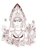 Vector Illustration zentangl russische Frau im nationalen Kostüm Gekritzelporträt, Blumenrahmen Malbuchantidruck Stockfotos