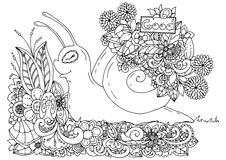 Vector illustration zentangl , snail with a pointer in flower frame. Doodle drawing. Meditative exercises. Coloring book Stock Photo