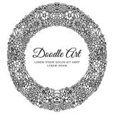 Vector illustration zentangl, symmetry round floral frame. Doodle drawing. Coloring book anti stress for adults. Black Royalty Free Stock Image