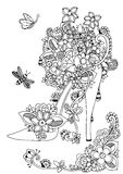 Vector illustration zentangl, women s shoes with flowers and floral. Doodle drawing. Coloring book anti stress for. Adults. Meditative exercises. Black and Royalty Free Stock Image