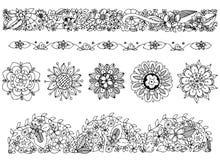 Vector Illustration zentangl Zeichnung, verzieren Sie, Gekritzelrahmen, Blumen Frühling, Sommer, blühend, dekorative Muster Stockfotografie