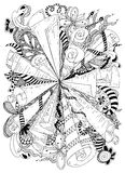 Vector illustration zentangle abstraction ancient scrolls. Doodle patterns, flowers. Coloring book anti stress for Stock Image