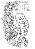 Vector Illustration zentangle Frau, Mädchen in den Blumen Offener Rücken, lange Borte, Gekritzel, zenart, färbender Antidruck Stockbild
