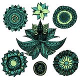 Vector illustration zentangle openwork mandala doodles set in blue and green colours with flowers isolated on white background vector illustration