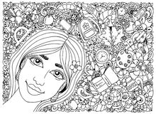 Vector illustration zentangle, schoolgirl in a frame with school supplies. Back to school. Doodle drawing. Meditative Royalty Free Stock Photo