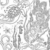 Vector illustration zentangle underwater world. Doodle sea, ocean. Vector illustration zentangle underwater world. Doodle sea, ocean, fairy story. Coloring book royalty free illustration