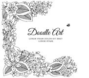 Vector illustration zentnagl, floral frame. Doodle drawing. Coloring book anti stress for adults. Black white. Stock Images