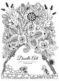 Vector illustration zentnagl, floral frame. Doodle drawing. Coloring book anti stress for adults. Black and white. Vector illustration zentnagl, floral frame Stock Images