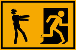 Vector illustration - zombie emergency exit sign with a stick figure silhouette undead chasing a person trying to escape. A zombie stick figure chasing a person Stock Photography