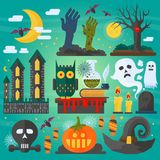 Vector illustration of zombie hands, bats, owl, ghost, castle and other different spooky elements and decorations for Stock Photo