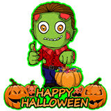 Zombie wants a happy Halloween on an isolated white background. Vector illustration Zombie wants a happy Halloween on an isolated white background Stock Photo
