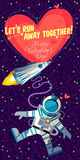 Vector illustrationabout outer space for Valentines day. Vector illustration in flat style about outer space. Planets in the univers. Happy valentines day Royalty Free Stock Photos