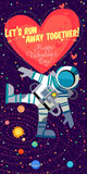 Vector illustrationabout outer space for Valentines day. Royalty Free Stock Photo