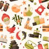 Vector Illustrationen der Schönheitsbadekur, nahtloses Muster Schönheitsverfahren Wellness Stockfotos