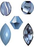Vector Illustrationen des blauen Achats der Spitzes, des blauen Edelsteins und der blauen Perlen Stockfotografie