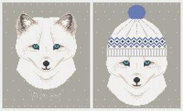 Vector Illustrationen des polaren Fuchses in einer Strickmütze stock abbildung