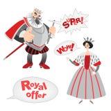 Vector Illustrationen lustigen Karikaturkönigs und -königin mit Blasen einer Sprache Königliche Angebotikonen Stockfoto