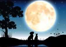 Vector Illustrationen silhouettieren den Hund und die Katze, die romantisch sind Stockfotografie