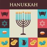 Vector Illustrationen von berühmten Symbolen für den jüdischen Feiertag Chanukka Lizenzfreie Stockfotos