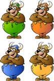 Vector illustrations of 4 Viking Bear Stock Images