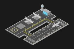 Vector illustrations and airport. Isometric airport transportation, aircraft vector illustrations and airports stock illustration