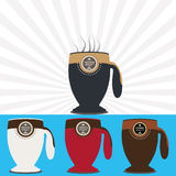 Vector illustrations as symbol of coffee mug. Icon, logo and brand for a coffee mug Royalty Free Stock Photo