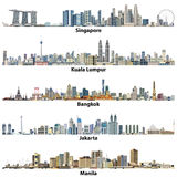 Vector illustrations of asian citiesSingapore, Kuala Lumpur, Bangkok, Jakarta and Manila skylines Royalty Free Stock Photography