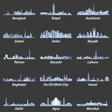 Vector illustrations of asian city skylines in soft blue color palette Royalty Free Stock Photos