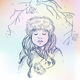 Vector illustrations of beautiful Russian girl on blurred colorful background. Russian winter Royalty Free Stock Photos