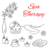 Vector illustrations of Beautiful woman spa stone massage. Vector illustrations of Beautiful woman spa relax stone massage procedure. Spa treatment hand drawn Royalty Free Stock Images