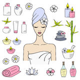 Vector illustrations of Beautiful woman spa treatment Stock Images