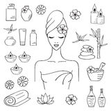 Vector illustrations of Beautiful woman spa treatment Royalty Free Stock Photo