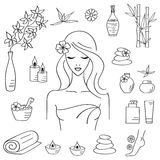 Vector illustrations of Beautiful woman spa treatment Royalty Free Stock Photography