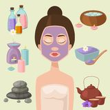 Vector illustrations of beautiful woman spa treatment, beauty procedures wellness icons. Stock Photo