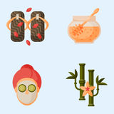 Vector illustrations of beautiful woman spa treatment, beauty procedures wellness icons. Royalty Free Stock Images
