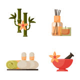 Vector illustrations of beautiful woman spa treatment, beauty procedures wellness icons. Royalty Free Stock Photos