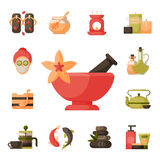 Vector illustrations of beautiful woman spa treatment, beauty procedures wellness icons. Royalty Free Stock Photography