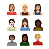 Vector illustrations of beautiful young girls and women different nations with various hair style. Female avatars in. Flat cartoon style stock illustration