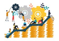 Vector illustrations of business graphics, the company is engaged in the joint construction and the cultivation of cash profits,. Career growth vector illustration