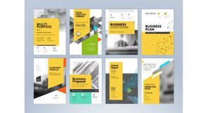 Set of brochure, annual report, flyer design templates in A4 size Royalty Free Stock Images