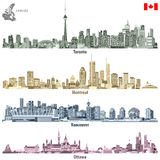 Vector illustrations of Canadian cities Toronto, Montreal, Vancouver and Ottawa skylines in different color palettes Stock Photos