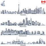 Vector illustrations of Canadian cities Toronto, Montreal, Vancouver and Ottawa skylines in tints of blue cod flags of the countri Royalty Free Stock Image