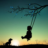Vector illustrations, child playing the swings. Art Royalty Free Stock Photos
